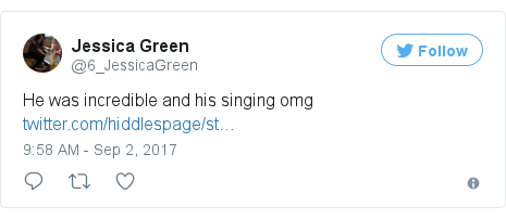 Twitter post by @6_JessicaGreen: He was incredible and his singing omg https //t.co/6GtNan3iNi