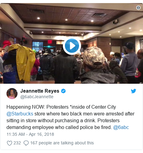 Twitter post by @6abcJeannette: Happening NOW  Protesters *inside of Center City @Starbucks store where two black men were arrested after sitting in store without purchasing a drink. Protesters demanding employee who called police be fired. @6abc