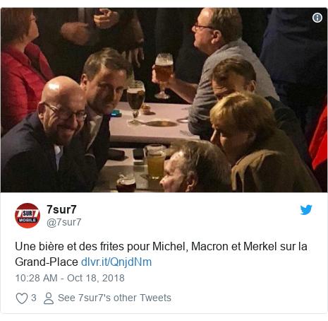 Twitter post by @7sur7: Une bière et des frites pour Michel, Macron et Merkel sur la Grand-Place