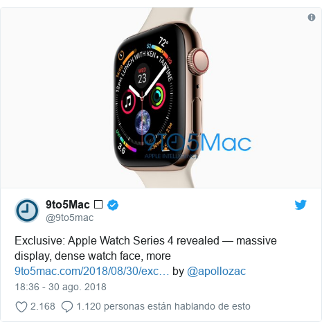 Publicación de Twitter por @9to5mac: Exclusive  Apple Watch Series 4 revealed — massive display, dense watch face, more  by @apollozac