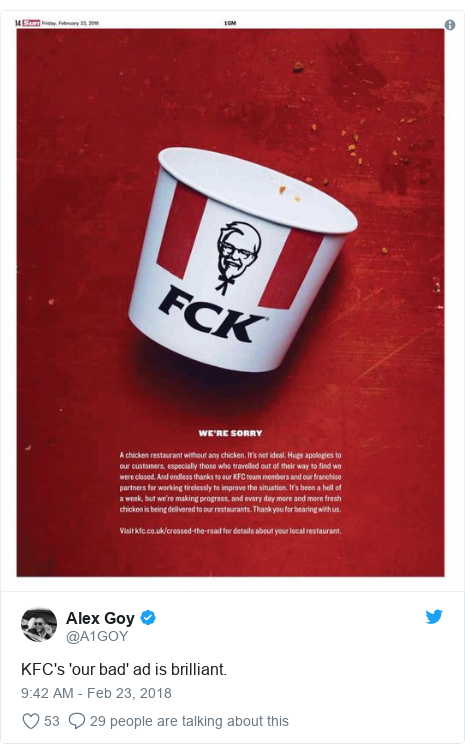 Twitter post by @A1GOY: KFC's 'our bad' ad is brilliant.