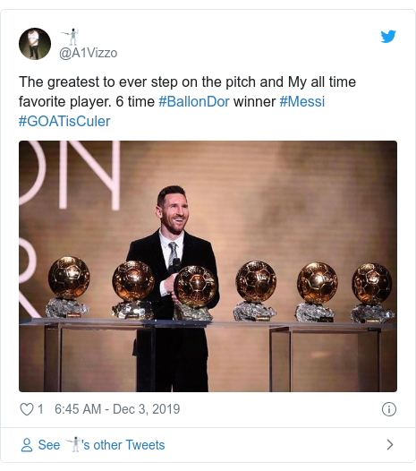 Twitter post by @A1Vizzo: The greatest to ever step on the pitch and My all time favorite player. 6 time #BallonDor winner #Messi #GOATisCuler