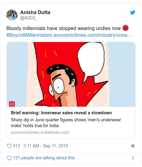 Twitter post by @A2D2_: Bloody millennials have stopped wearing undies now 😡#BoycottMillennials