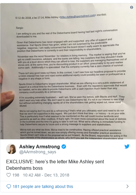 Twitter post by @AArmstrong_says: EXCLUSIVE  here's the letter Mike Ashley sent Debenhams boss