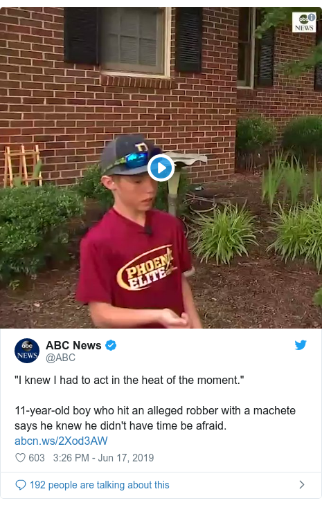 """Twitter post by @ABC: """"I knew I had to act in the heat of the moment.""""11-year-old boy who hit an alleged robber with a machete says he knew he didn't have time be afraid."""