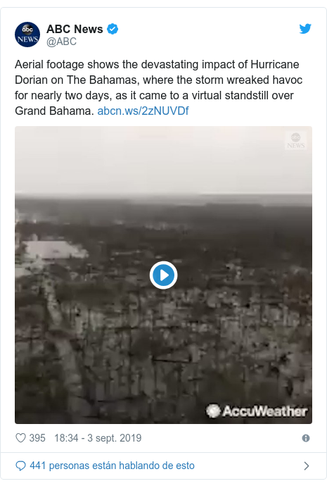 Publicación de Twitter por @ABC: Aerial footage shows the devastating impact of Hurricane Dorian on The Bahamas, where the storm wreaked havoc for nearly two days, as it came to a virtual standstill over Grand Bahama.