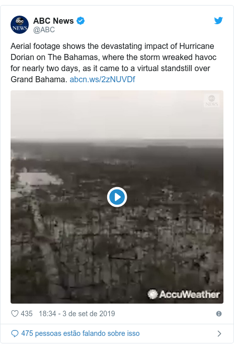 Twitter post de @ABC: Aerial footage shows the devastating impact of Hurricane Dorian on The Bahamas, where the storm wreaked havoc for nearly two days, as it came to a virtual standstill over Grand Bahama.