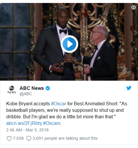 "Twitter post by @ABC: Kobe Bryant accepts #Oscar for Best Animated Short  ""As basketball players, we're really supposed to shut up and dribble. But I'm glad we do a little bit more than that.""  #Oscars"