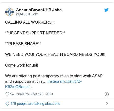 Twitter post by @ABUHBJobs: CALLING ALL WORKERS!!!**URGENT SUPPORT NEEDED****PLEASE SHARE**WE NEED YOU! YOUR HEALTH BOARD NEEDS YOU!!! Come work for us!! We are offering paid temporary roles to start work ASAP and support us at this…