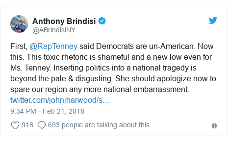 Twitter post by @ABrindisiNY: First, @RepTenney said Democrats are un-American. Now this. This toxic rhetoric is shameful and a new low even for Ms. Tenney. Inserting politics into a national tragedy is beyond the pale & disgusting. She should apologize now to spare our region any more national embarrassment.