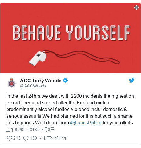 Twitter 用户名 @ACCWoods: In the last 24hrs we dealt with 2200 incidents the highest on record. Demand surged after the England match predominantly alcohol fuelled violence inclu. domestic & serious assaults.We had planned for this but such a shame this happens.Well done team @LancsPolice for your efforts