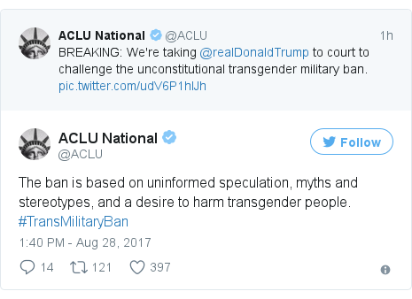 Twitter post by @ACLU