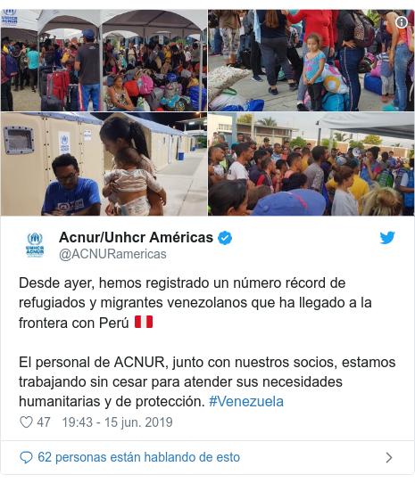 Publicación de Twitter por @ACNURamericas: Desde ayer, hemos registrado un número récord de refugiados y migrantes venezolanos que ha llegado a la frontera con Perú 🇵🇪El personal de ACNUR, junto con nuestros socios, estamos trabajando sin cesar para atender sus necesidades humanitarias y de protección. #Venezuela