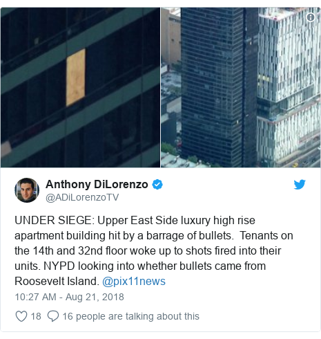 Twitter post by @ADiLorenzoTV: UNDER SIEGE  Upper East Side luxury high rise apartment building hit by a barrage of bullets.  Tenants on the 14th and 32nd floor woke up to shots fired into their units. NYPD looking into whether bullets came from Roosevelt Island. @pix11news
