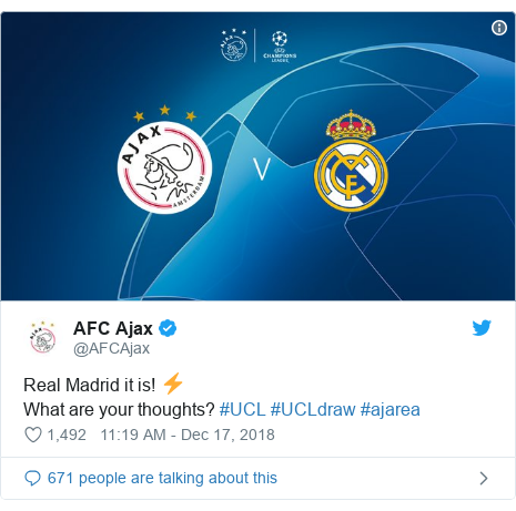 Twitter post by @AFCAjax: Real Madrid it is! ⚡️What are your thoughts? #UCL #UCLdraw #ajarea