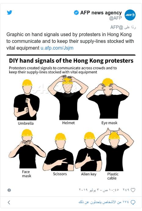 تويتر رسالة بعث بها @AFP: Graphic on hand signals used by protesters in Hong Kong to communicate and to keep their supply-lines stocked with vital equipment