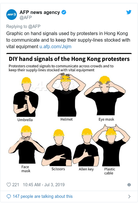 Twitter post by @AFP: Graphic on hand signals used by protesters in Hong Kong to communicate and to keep their supply-lines stocked with vital equipment