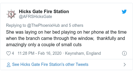 Twitter post by @AFRSHicksGate: She was laying on her bed playing on her phone at the time when the branch came through the window,  thankfully and amazingly only a couple of small cuts