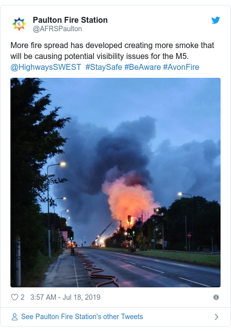 Twitter post by @AFRSPaulton: More fire spread has developed creating more smoke that will be causing potential visibility issues for the M5. @HighwaysSWEST  #StaySafe #BeAware #AvonFire