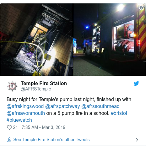 Twitter post by @AFRSTemple: Busy night for Temple's pump last night, finished up with @afrskingswood @afrspatchway @afrssouthmead @afrsavonmouth on a 5 pump fire in a school. #bristol #bluewatch