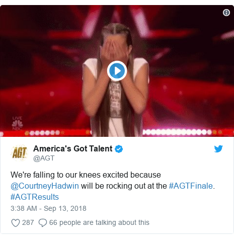 Twitter post by @AGT: We're falling to our knees excited because @CourtneyHadwin will be rocking out at the #AGTFinale. #AGTResults