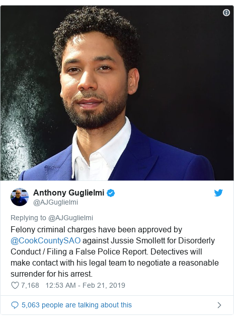 Twitter post by @AJGuglielmi: Felony criminal charges have been approved by @CookCountySAO against Jussie Smollett for Disorderly Conduct / Filing a False Police Report. Detectives will make contact with his legal team to negotiate a reasonable surrender for his arrest.