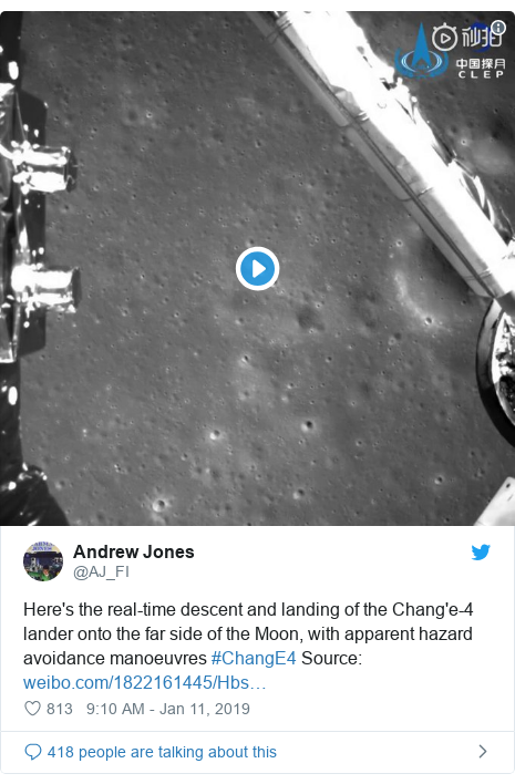 Twitter post by @AJ_FI: Here's the real-time descent and landing of the Chang'e-4 lander onto the far side of the Moon, with apparent hazard avoidance manoeuvres #ChangE4 Source