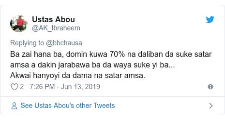 Twitter wallafa daga @AK_Ibraheem: Ba zai hana ba, domin kuwa 70% na daliban da suke satar amsa a dakin jarabawa ba da waya suke yi ba... Akwai hanyoyi da dama na satar amsa.