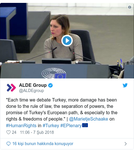 "@ALDEgroup tarafından yapılan Twitter paylaşımı: ""Each time we debate Turkey, more damage has been done to the rule of law, the separation of powers, the promise of Turkey's European path, & especially to the rights & freedoms of people."" 