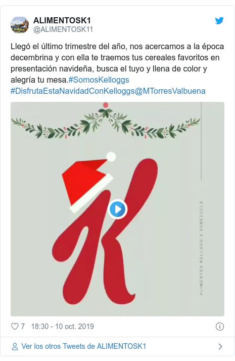 Publicación de Twitter por @ALIMENTOSK11: Llegó el último trimestre del año, nos acercamos a la época decembrina y con ella te traemos tus cereales favoritos en presentación navideña, busca el tuyo y llena de color y alegría tu mesa.#SomosKelloggs #DisfrutaEstaNavidadConKelloggs@MTorresValbuena