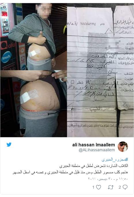 تويتر رسالة بعث بها @ALihassamaallem: #مجزره_الغبيريالكلاب الشاردة تتعرض لطفل في منطقة الغبيري هاجم كلب مسعور الطفل م-س منذ قليل في منطقة الغبيري وعضه في اسفل الضهر
