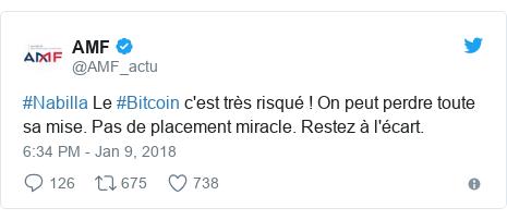 Twitter post by @AMF_actu: #Nabilla Le #Bitcoin c'est très risqué ! On peut perdre toute sa mise. Pas de placement miracle. Restez à l'écart.