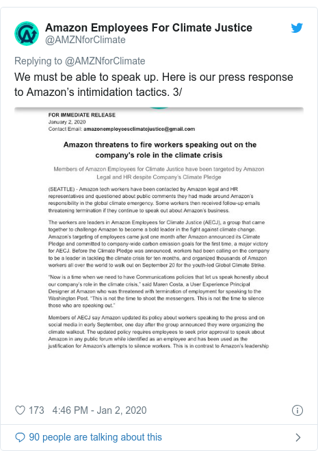 Twitter post by @AMZNforClimate: We must be able to speak up. Here is our press response to Amazon's intimidation tactics. 3/