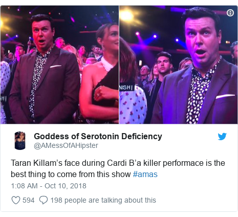 Twitter post by @AMessOfAHipster: Taran Killam's face during Cardi B'a killer performace is the best thing to come from this show #amas