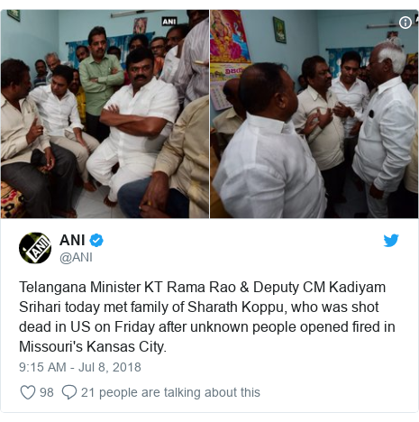 Twitter post by @ANI: Telangana Minister KT Rama Rao & Deputy CM Kadiyam Srihari today met family of Sharath Koppu, who was shot dead in US on Friday after unknown people opened fired in Missouri's Kansas City.
