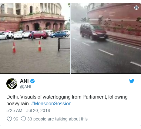 Twitter post by @ANI: Delhi  Visuals of waterlogging from Parliament, following heavy rain. #MonsoonSession