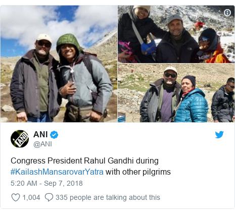 Twitter post by @ANI: Congress President Rahul Gandhi during #KailashMansarovarYatra with other pilgrims