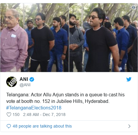 Twitter post by @ANI: Telangana  Actor Allu Arjun stands in a queue to cast his vote at booth no. 152 in Jubilee Hills, Hyderabad. #TelanganaElections2018