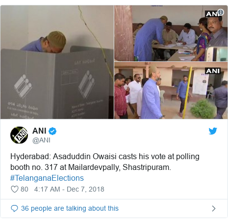 Twitter post by @ANI: Hyderabad  Asaduddin Owaisi casts his vote at polling booth no. 317 at Mailardevpally, Shastripuram. #TelanganaElections