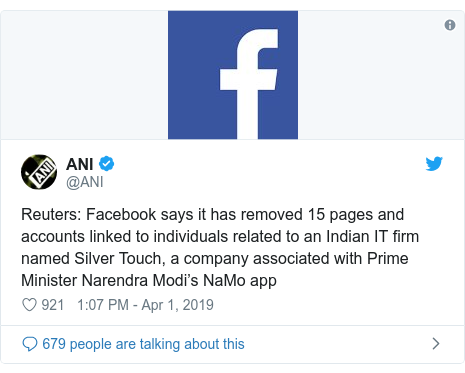 Twitter post by @ANI: Reuters  Facebook says it has removed 15 pages and accounts linked to individuals related to an Indian IT firm named Silver Touch, a company associated with Prime Minister Narendra Modi's NaMo app