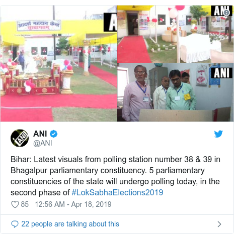 Twitter post by @ANI: Bihar  Latest visuals from polling station number 38 & 39 in Bhagalpur parliamentary constituency. 5 parliamentary constituencies of the state will undergo polling today, in the second phase of #LokSabhaElections2019