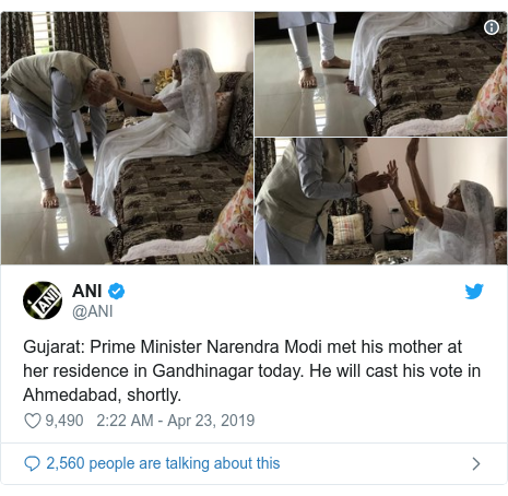 Twitter post by @ANI: Gujarat  Prime Minister Narendra Modi met his mother at her residence in Gandhinagar today. He will cast his vote in Ahmedabad, shortly.