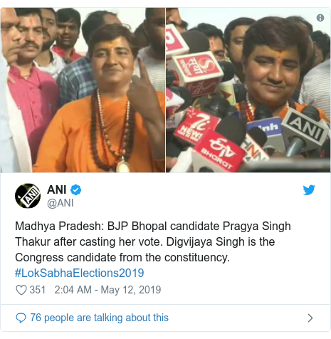 Twitter post by @ANI: Madhya Pradesh  BJP Bhopal candidate Pragya Singh Thakur after casting her vote. Digvijaya Singh is the Congress candidate from the constituency. #LokSabhaElections2019