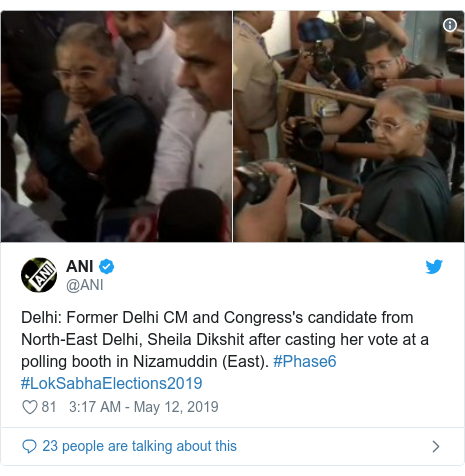 Twitter post by @ANI: Delhi  Former Delhi CM and Congress's candidate from North-East Delhi, Sheila Dikshit after casting her vote at a polling booth in Nizamuddin (East). #Phase6 #LokSabhaElections2019