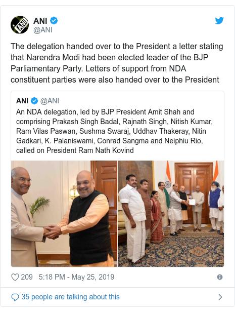 டுவிட்டர் இவரது பதிவு @ANI: The delegation handed over to the President a letter stating that Narendra Modi had been elected leader of the BJP Parliamentary Party. Letters of support from NDA constituent parties were also handed over to the President