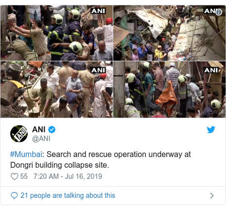 Twitter post by @ANI: #Mumbai  Search and rescue operation underway at Dongri building collapse site.