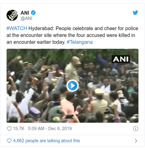 Twitter post by @ANI: #WATCH Hyderabad  People celebrate and cheer for police at the encounter site where the four accused were killed in an encounter earlier today. #Telangana
