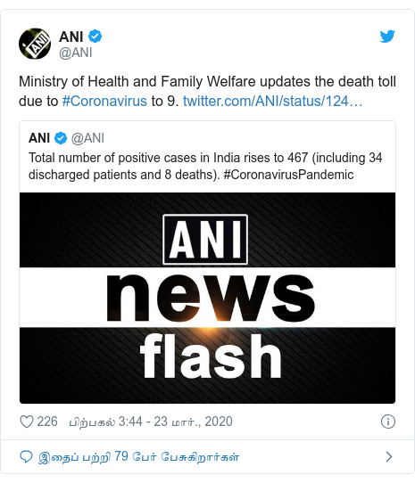டுவிட்டர் இவரது பதிவு @ANI: Ministry of Health and Family Welfare updates the death toll due to #Coronavirus to 9.