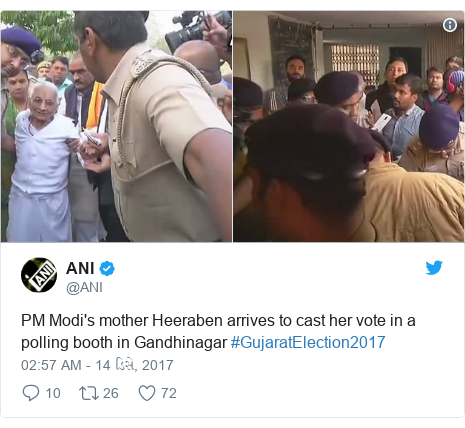Twitter post by @ANI: PM Modi's mother Heeraben arrives to cast her vote in a polling booth in Gandhinagar #GujaratElection2017