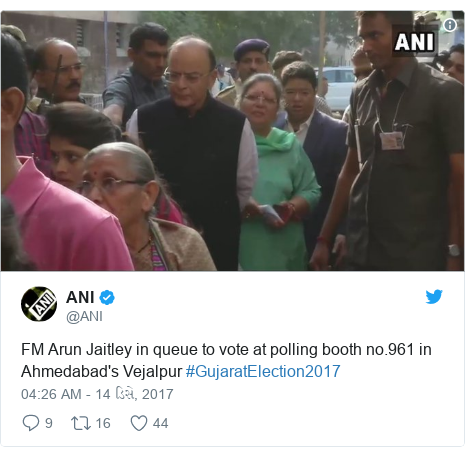 Twitter post by @ANI: FM Arun Jaitley in queue to vote at polling booth no.961 in Ahmedabad's Vejalpur #GujaratElection2017